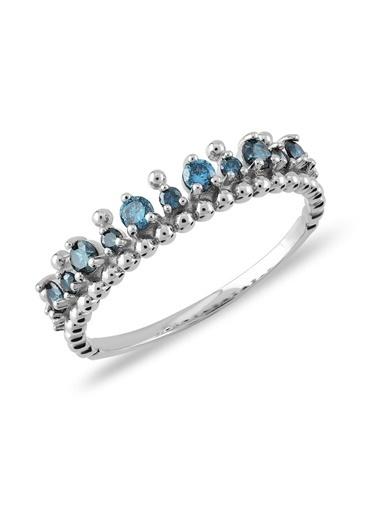 Piano Jewellery Cabaret Luna Mavi Pırlanta Yüzük 14 Ayar Gümüş